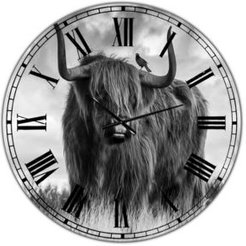 """Longhaired Scottish Bull Large Cottage Wall Clock - 36"""" x 28"""" x 1"""""""