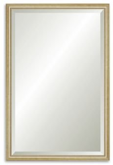"""Reveal Delicate Gold Leaf Beveled Wall Mirror - 23.5"""" x 36.5"""""""
