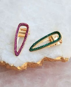 Green and Purple Crystal Hair Clip Set