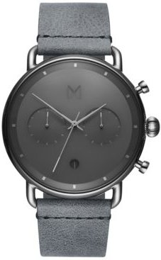 Chronograph Blacktop Silver Mist Gray Leather Strap Watch 47mm