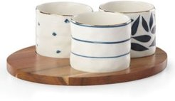 Blue Bay Set/3 Round Snack Bowls with Wood Tray