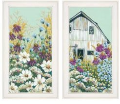 "Floral Field 2-Piece Vignette by Michele Norman, White Frame, 15"" x 27"""