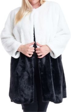 Plus Size Colorblocked Faux-Fur Coat