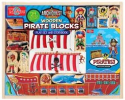 Archiquest Wooden Pirate Blocks Play Set and Storybook