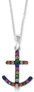 """Effy Multi-Gemstone (1/5 ct. t.w.) Anchor 18"""" Pendant Necklace in Sterling Silver"""
