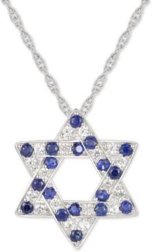 """Lab-Created Blue Sapphire (3/8 ct. t.w.) & White Sapphire (1/3 ct. t.w.) Star of David 18"""" Pendant Necklace in Sterling Silver"""