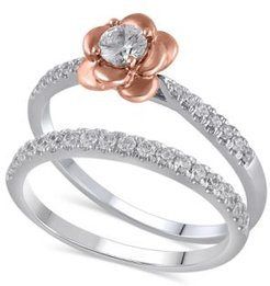 Certified Diamond (3/8 ct. t.w.) Bridal Set in 14K White and Rose Gold