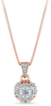 """Diamond 1/4 ct. t.w. Solitaire Pendant 18"""" Necklace in 10k Rose Gold"""