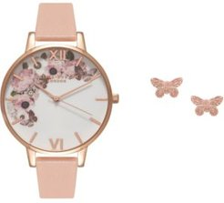 Pink Leather Strap Watch 38mm Gift Set