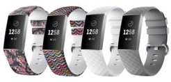 Unisex Fitbit Charge 3 Assorted Silicone Watch Replacement Bands - Pack of 4