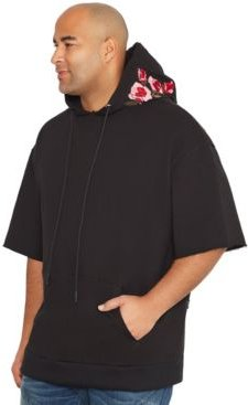 Mvp Collections Men's Big & Tall Short Sleeve Hoodie with Rose Embroidery