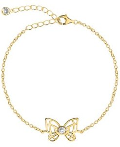 Bodifine Cubic Zirconia Butterfly 10K Gold-Tone Sterling Silver-Tone Anklet