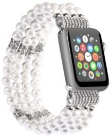 and Women's Apple White Imitation Pearl - Beads Replacement Band 44mm
