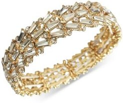 Inc Gold-Tone Round & Baguette-Crystal Fan Stretch Bracelet, Created for Macy's