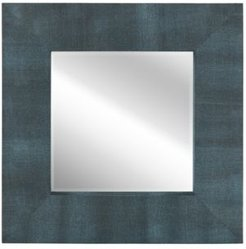 """Beveled Wall Mirror Metallic Faux Shagreen Leather Framed Leaner, 30"""" x 30"""" x 3"""""""