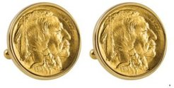 Gold-Layered 1913 First-Year-Of-Issue Buffalo Nickel Bezel Coin Cuff Links