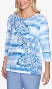 Plus Size Watercolor Biadere Paisley Embellished Neckline 3/4 Knit Top