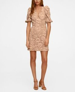 Puffed Sleeves Lace Dress