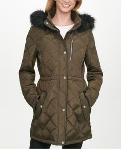 Petite Faux-Fur-Trim Hooded Quilted Water-Resistant Anorak Coat, Created for Macy's