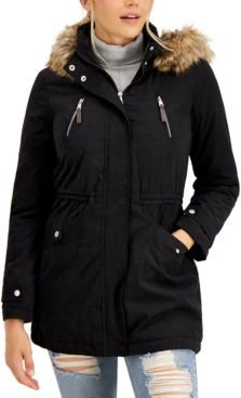 Juniors' Faux-Fur-Trim Hooded Anorak Jacket, Created for Macy's