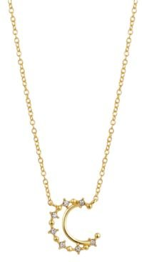"""Crystal Moon Pendant Necklace in Gold-Flash, 16"""" + 2"""" extender"""