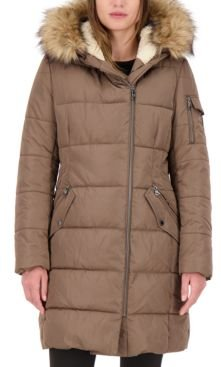 Faux-Fur-Trim Hooded Asymmetrical Puffer Coat, Created for Macy's