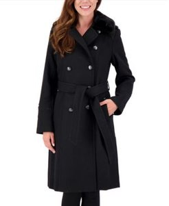 Petite Double-Breasted Faux-Fur-Collar Coat