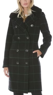 Plaid Faux-Fur-Collar Double-Breasted Coat