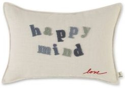 """14"""" L x 20"""" W Happy Mind Embroidered Lumbar Pillow Bedding"""