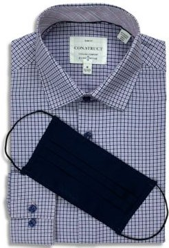 Receive a Free Face Mask with purchase of the Con. Struct Men's Slim-Fit Performance Stretch Cooling Comfort Purple Gingham Check Dress Shirt, Created for Macy's