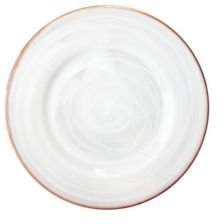 """Alabaster 13"""" Charger Plate with Copper Rim"""