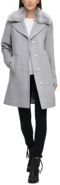 Faux-Fur-Collar Single-Breasted Coat, Created for Macy's