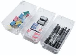Vintiquewise Clear Plastic Drawer Organizers, Set of 3