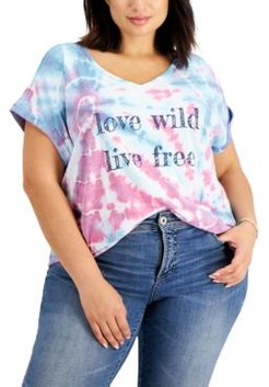 Plus Size Tie-Dye Graphic T-Shirt, Created for Macy's