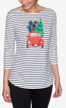 Holiday Striped Cruiser Knit Top