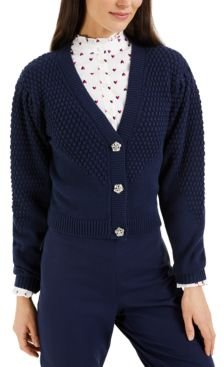 Petite Puff-Sleeve Textured Cardigan, Created for Macy's