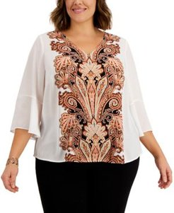 Plus Size Perla Printed-Front Ruffle-Sleeve Top, Created for Macy's