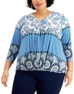 Plus Size Mixed-Print V-Neck Top, Created for Macy's