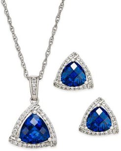 Lab-Created Blue Sapphire (3 ct. t.w.) and White Sapphire (1/3 ct. t.w.) Pendant Necklace and Matching Stud Earrings Set, in Sterling Silver