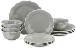 Butterfly Meadow Carved Collection 12-Piece Dinnerware Set