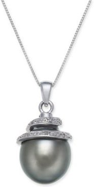"""Cultured Tahitian Black Pearl (12mm) & Diamond Accent Spiral Top 18"""" Pendant Necklace in 14k White Gold"""