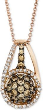 """Chocolatier Diamond Halo Cluster 18"""" Pendant Necklace (3/4 ct. t.w.) in 14k Rose Gold"""