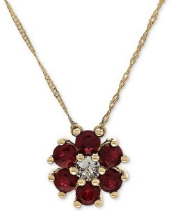 """Ruby (9/10 ct. t.w.) & White Topaz (1/6 ct. t.w.) 18"""" Pendant Necklace in 14k Gold"""