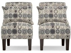 Bryce Armless Accent Chair Set in Gray, With Pillows
