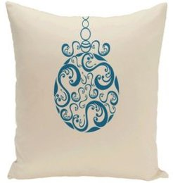 16 Inch Off White and Teal Decorative Christmas Throw Pillow