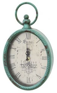 Antique Teal Oval Clock