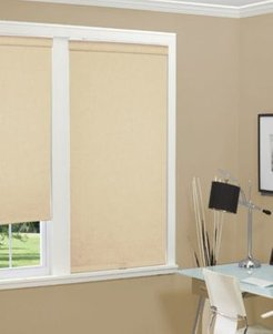 """Cordless Linen Look Thermal Fabric Roller Shade, 35""""x66"""""""