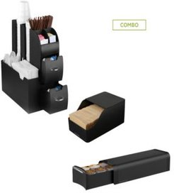 Coffee Condiment Holder with Draw for K-Cups, Black