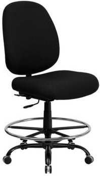 Offex 400 lb. Capacity Big and Tall Black Fabric Drafting Stool with Extra Wide Seat