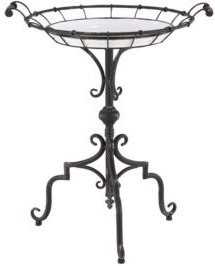 "Traditional 29"" x 24"" Round Iron and Wood Tray-Style Accent Table"
